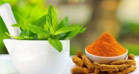 Turmeric and mint leaves To Get Rid Eyes Dark Circles